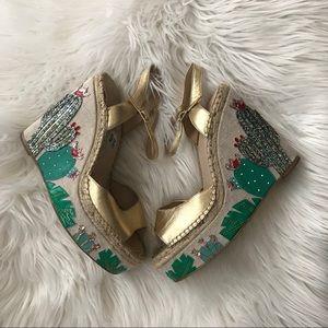Kate Spade Cactus sequin Embellished Wedge Heels